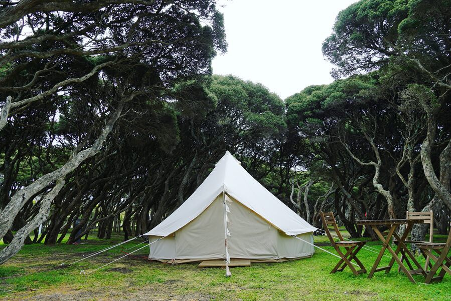 Bell tent in a bush setting at Anglesea family caravan park