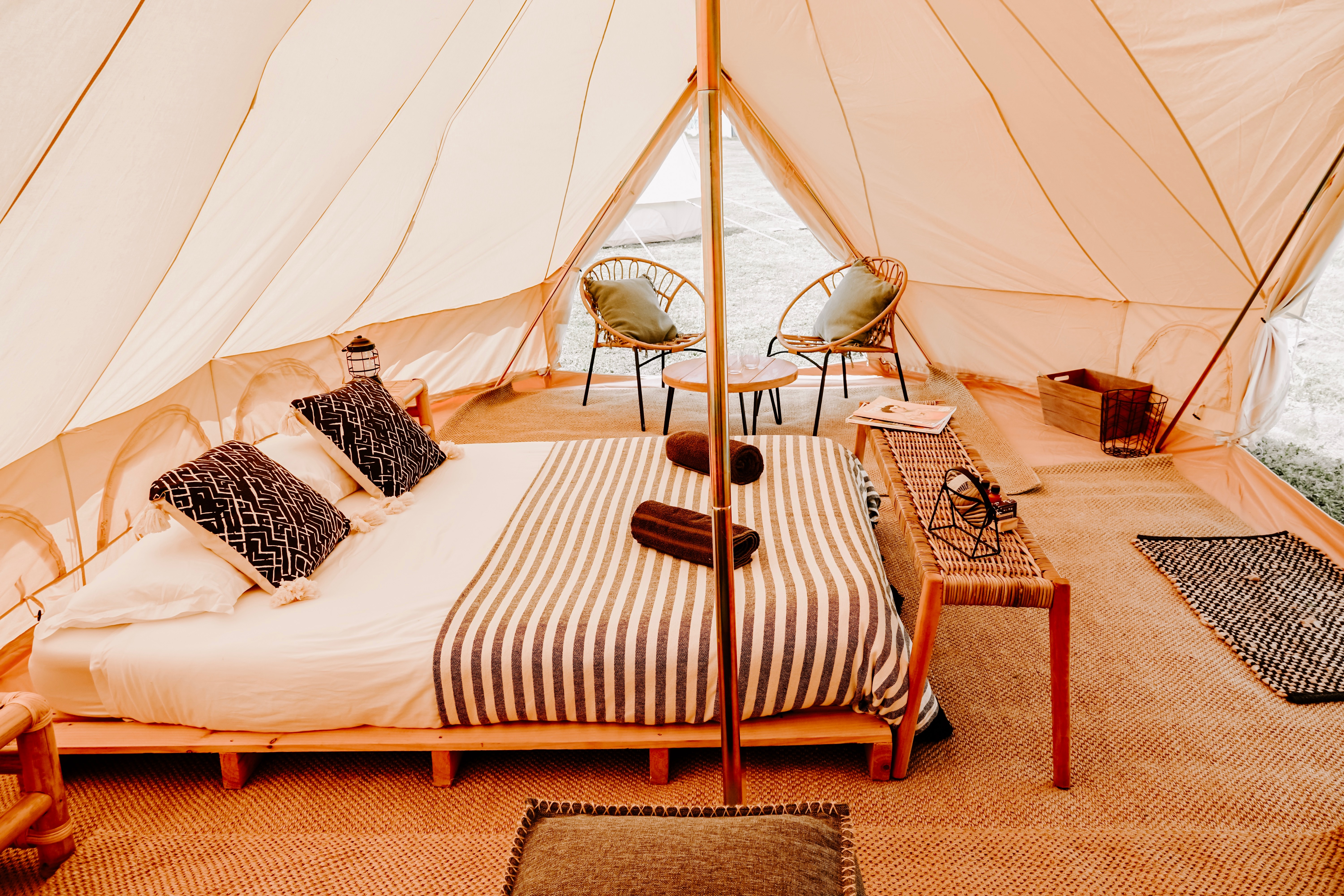Inside penthouse suite bell tent