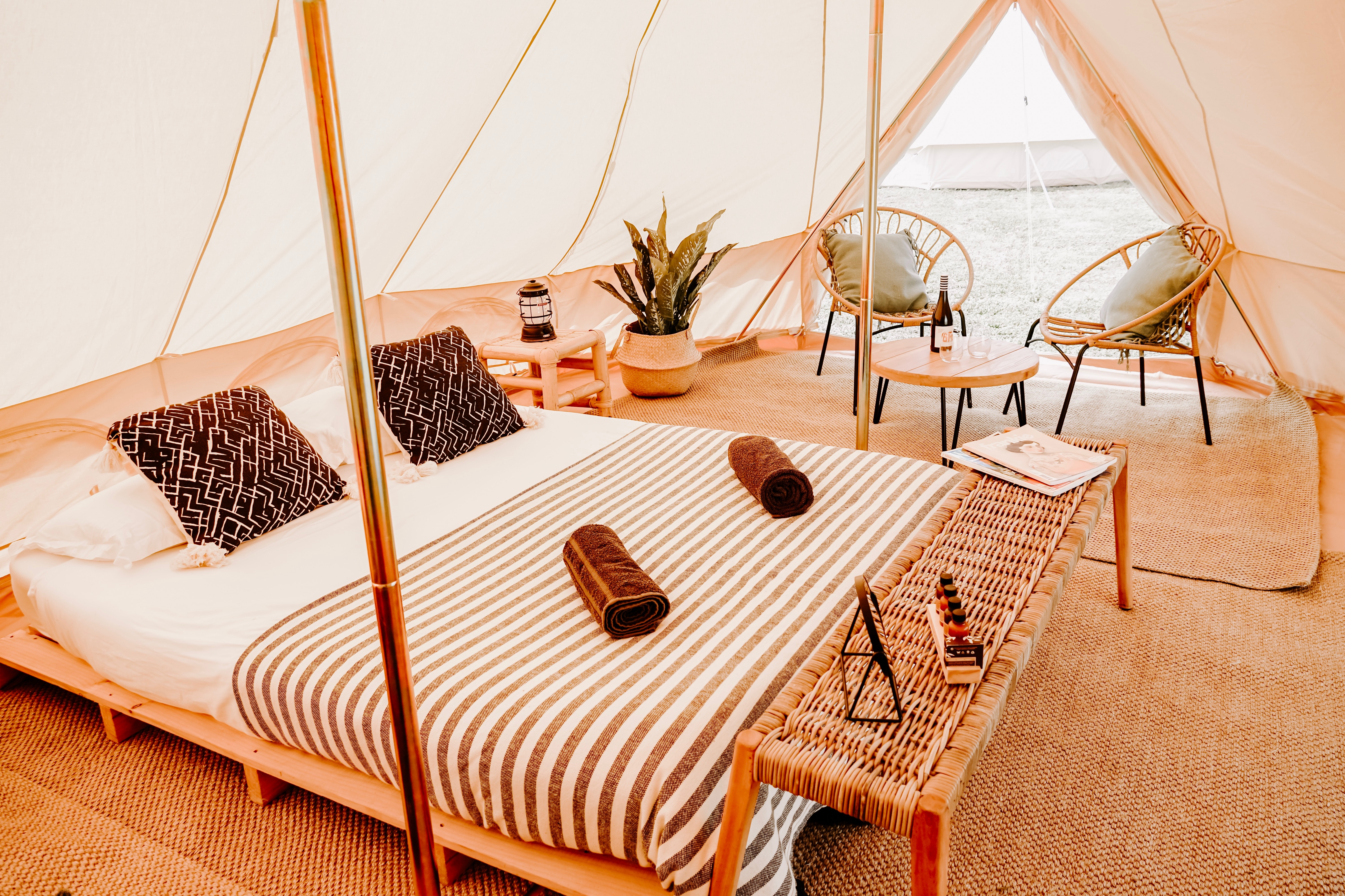 Image inside of a penthouse suite bell tent